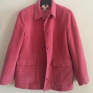 LL bean pink fleece coat
